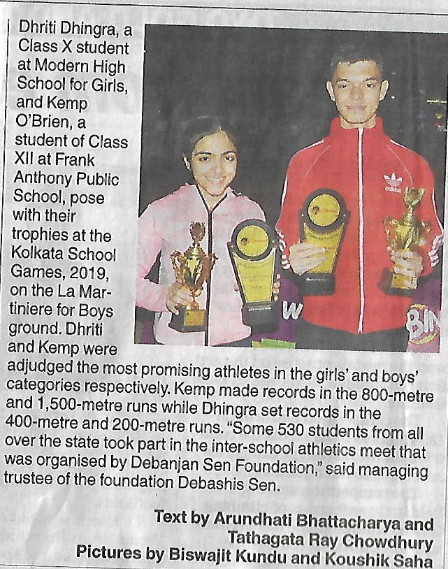 Debanjan Sen Inter School Athletics